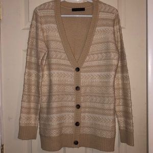The Limited tan & white cardigan sweater